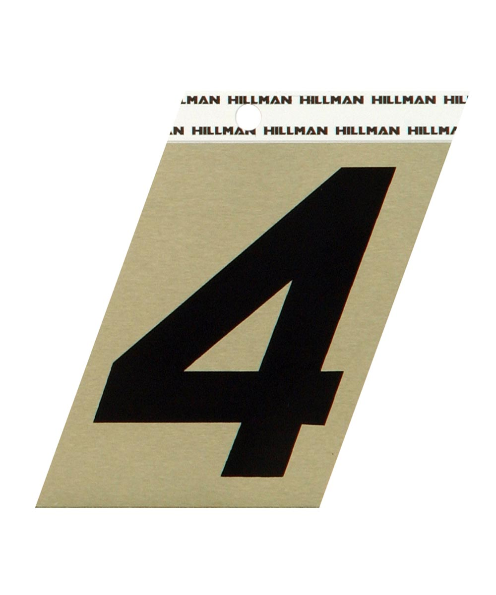 3 in. Black and Gold Adhesive Number 4, Angle Cut Aluminum