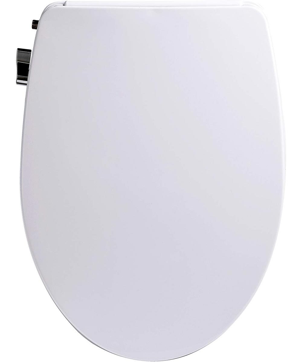 BioBidet Slim Zero Non-Electric Bidet Elongated Toilet Seat with Night Light, White