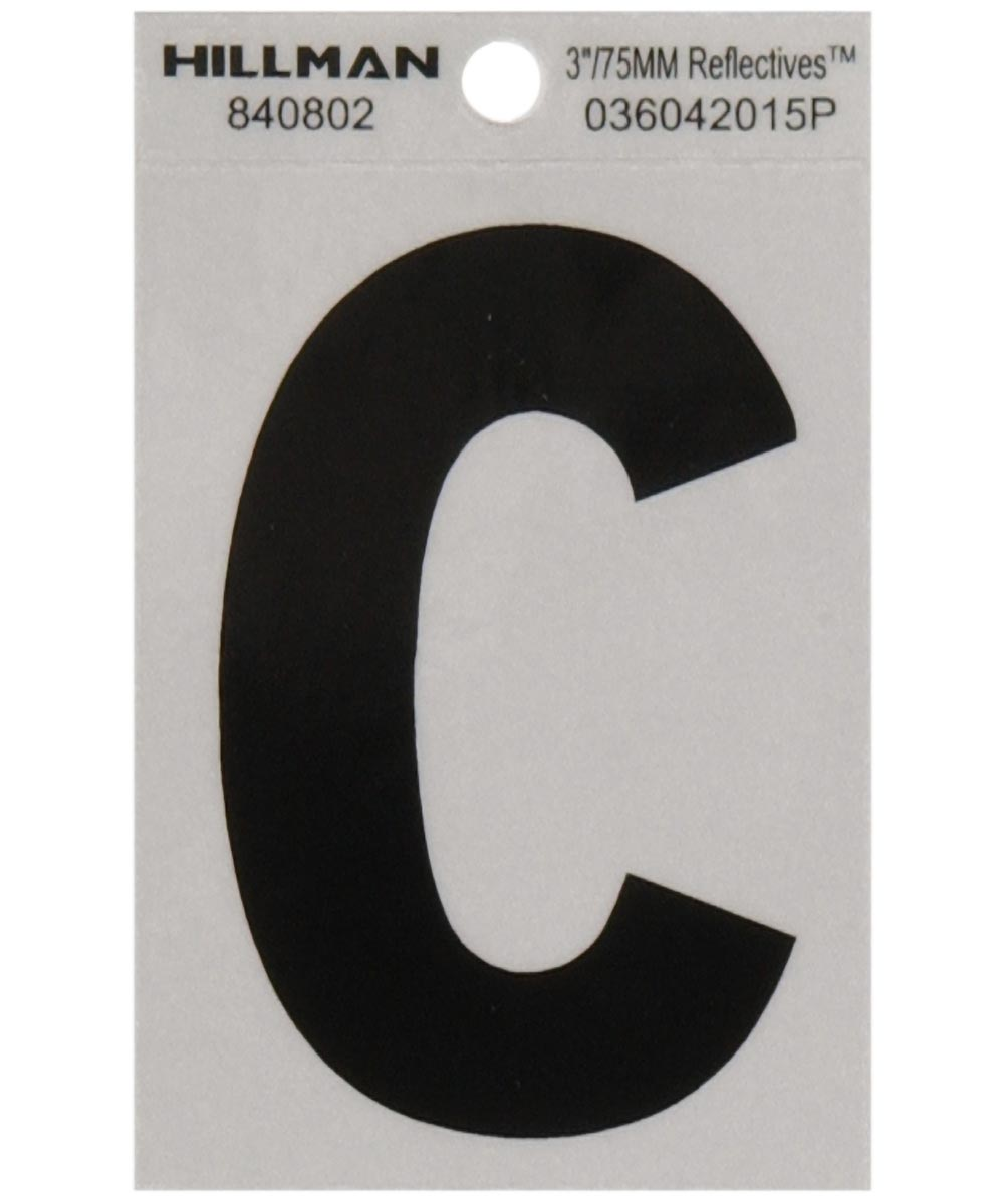 3 in. Black and Silver Reflective Adhesive Letter C