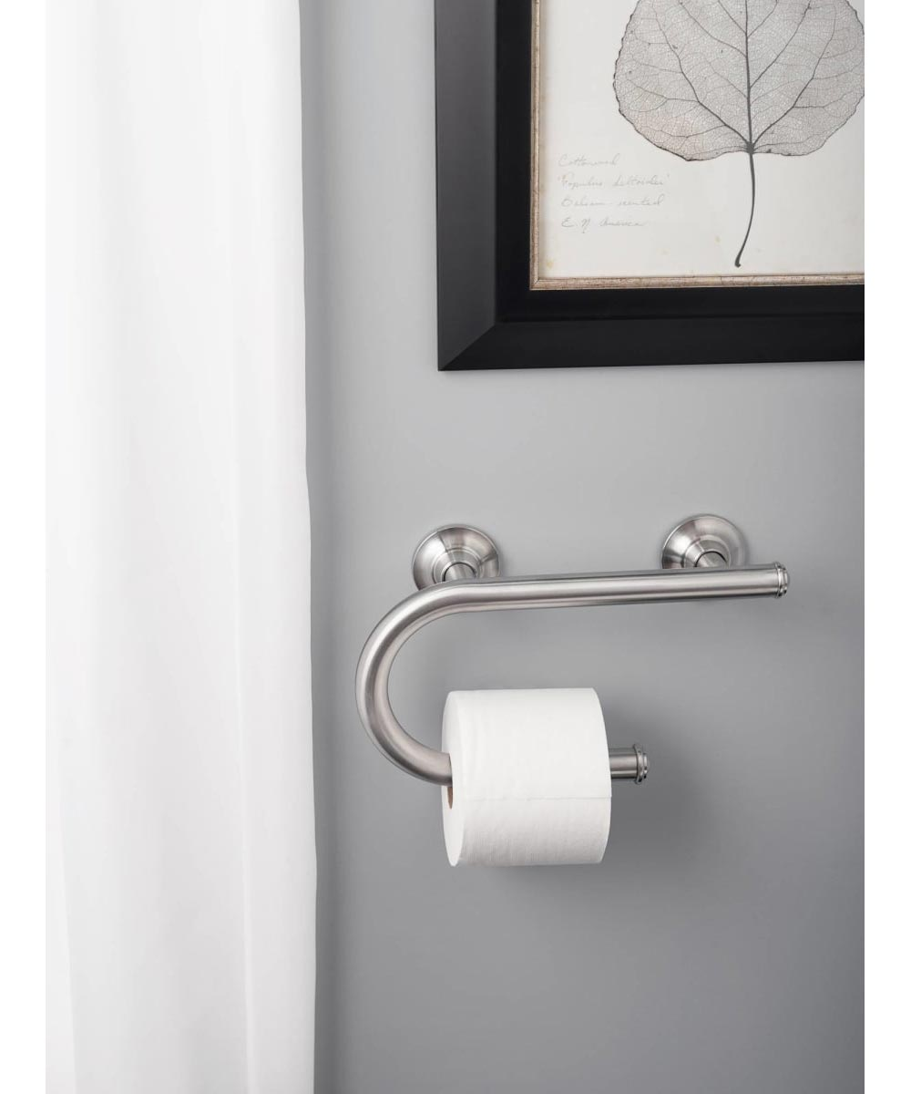Moen 7.5 in. Bathroom Safety Grab Bar with Paper Holder, Chrome