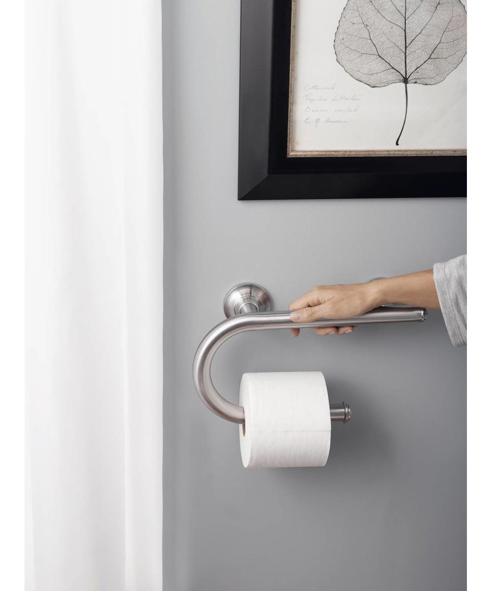 Moen 7.5 in. Bathroom Safety Grab Bar with Paper Holder, Brushed Nickel