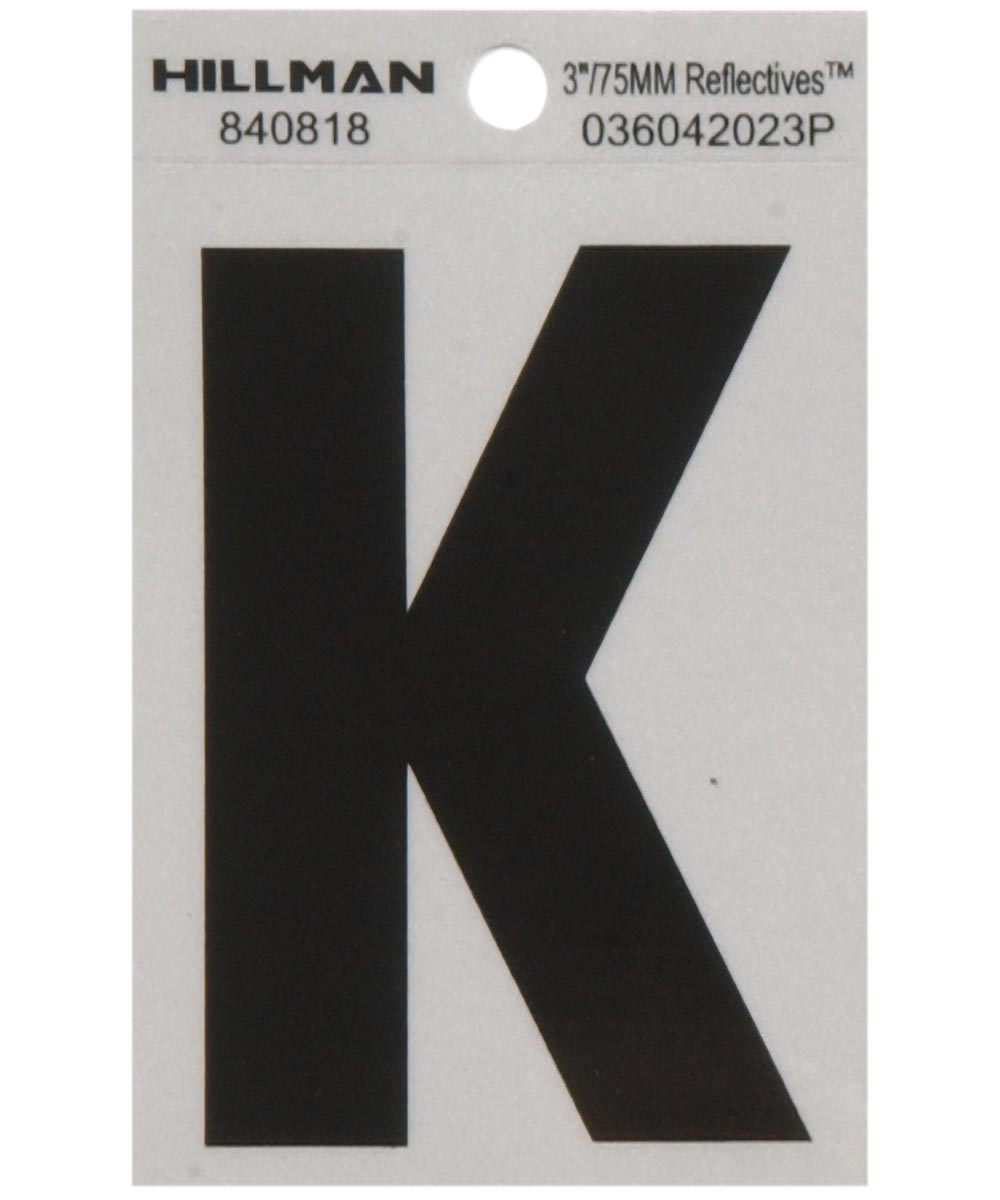 3 in. Black and Silver Reflective Adhesive Letter K