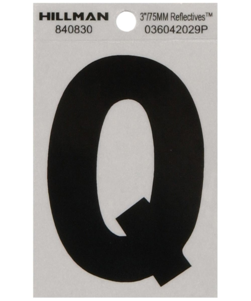 3 in. Black and Silver Reflective Adhesive Letter Q