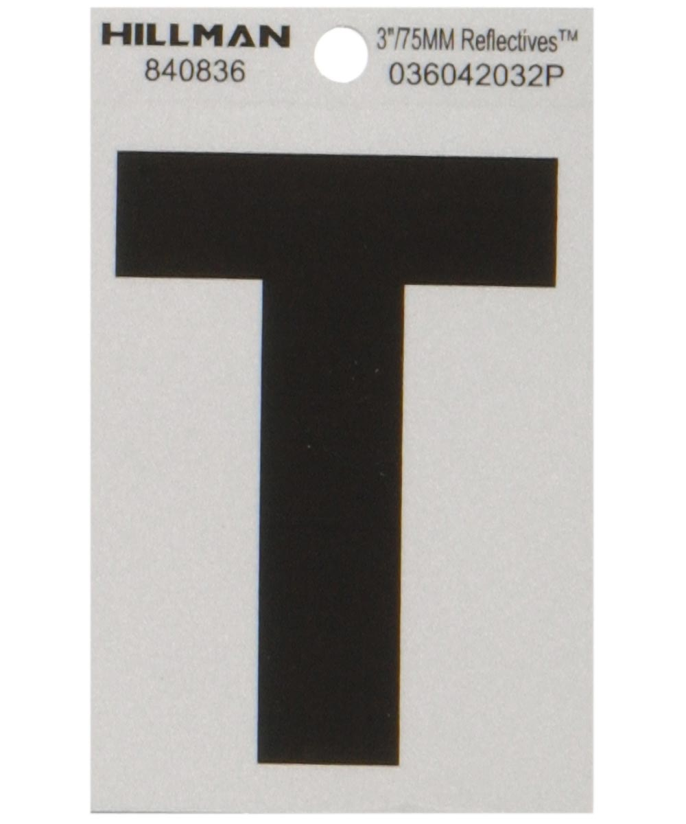 3 in. Black and Silver Reflective Adhesive Letter T