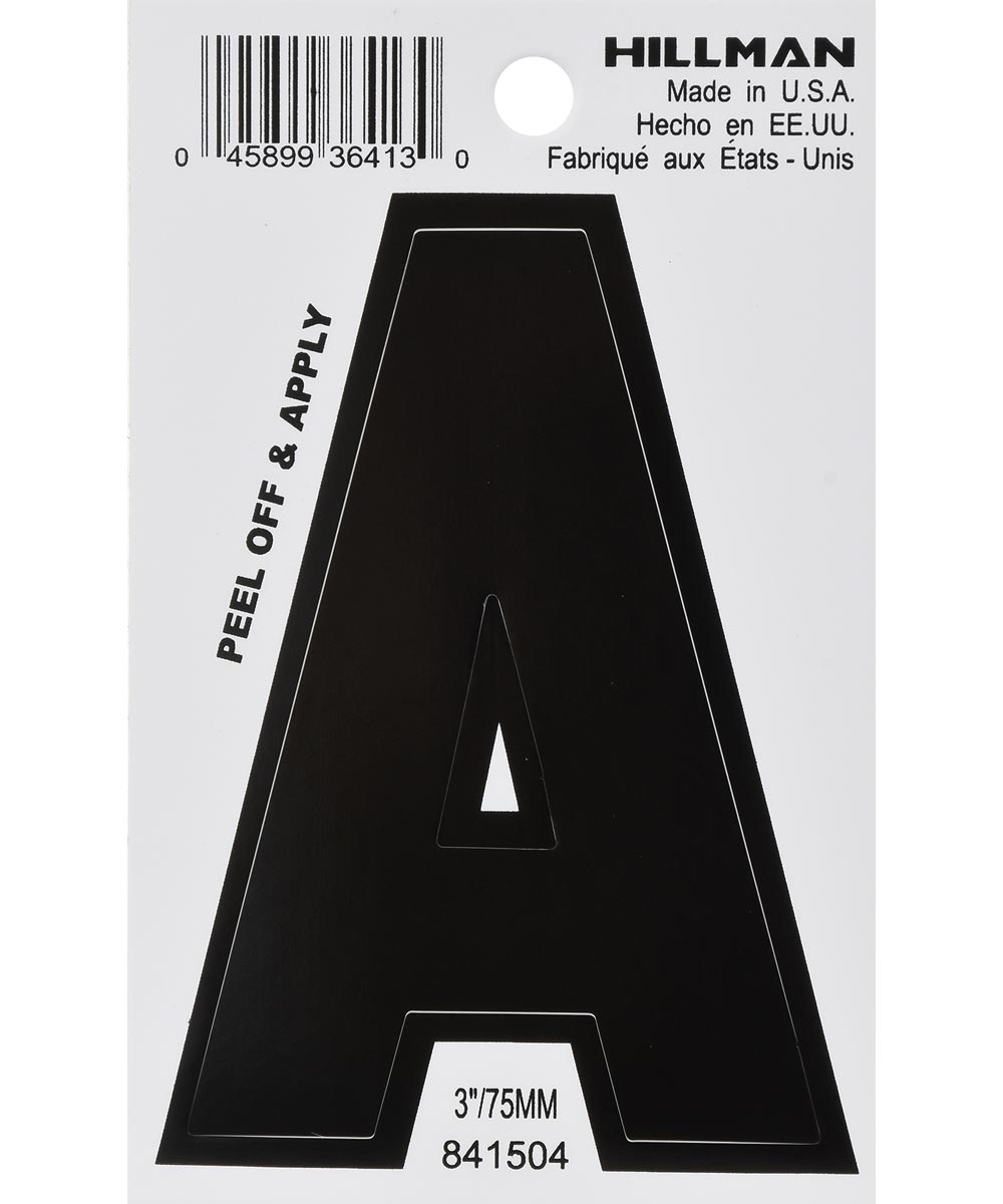 3 in. Black Adhesive Letter A
