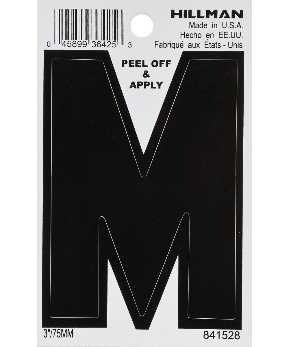 3 in. Black Adhesive Letter M