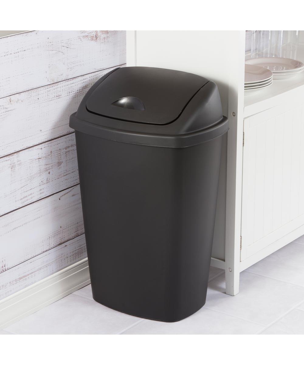 Sterilite 13.2 Gallon SwingTop Trash Can, Black