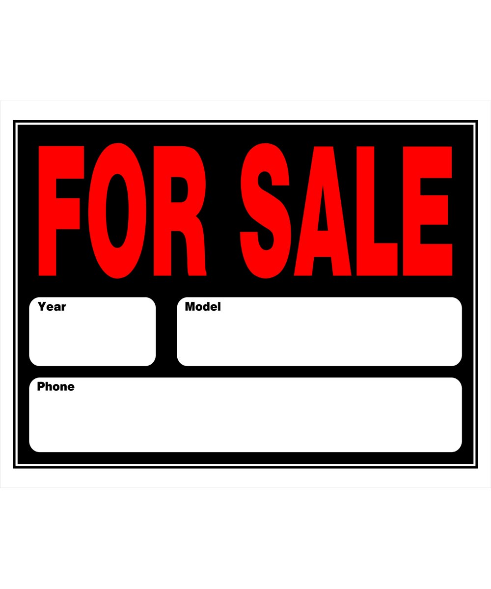Automobile For Sale Sign 15 in. x 21 in.