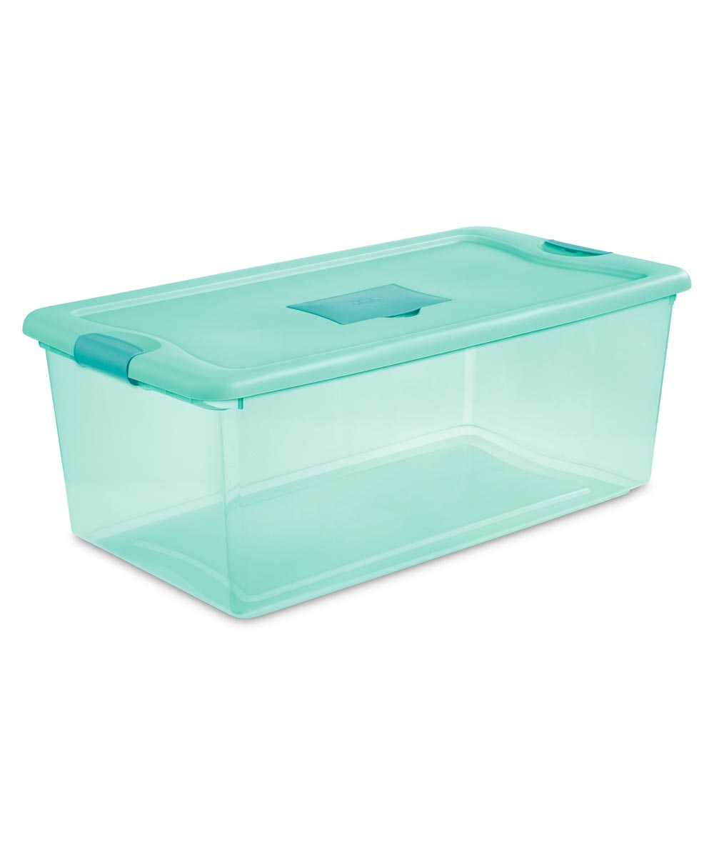Sterilite 106 Quart Aqua Fresh Scent Stackable Storage Box