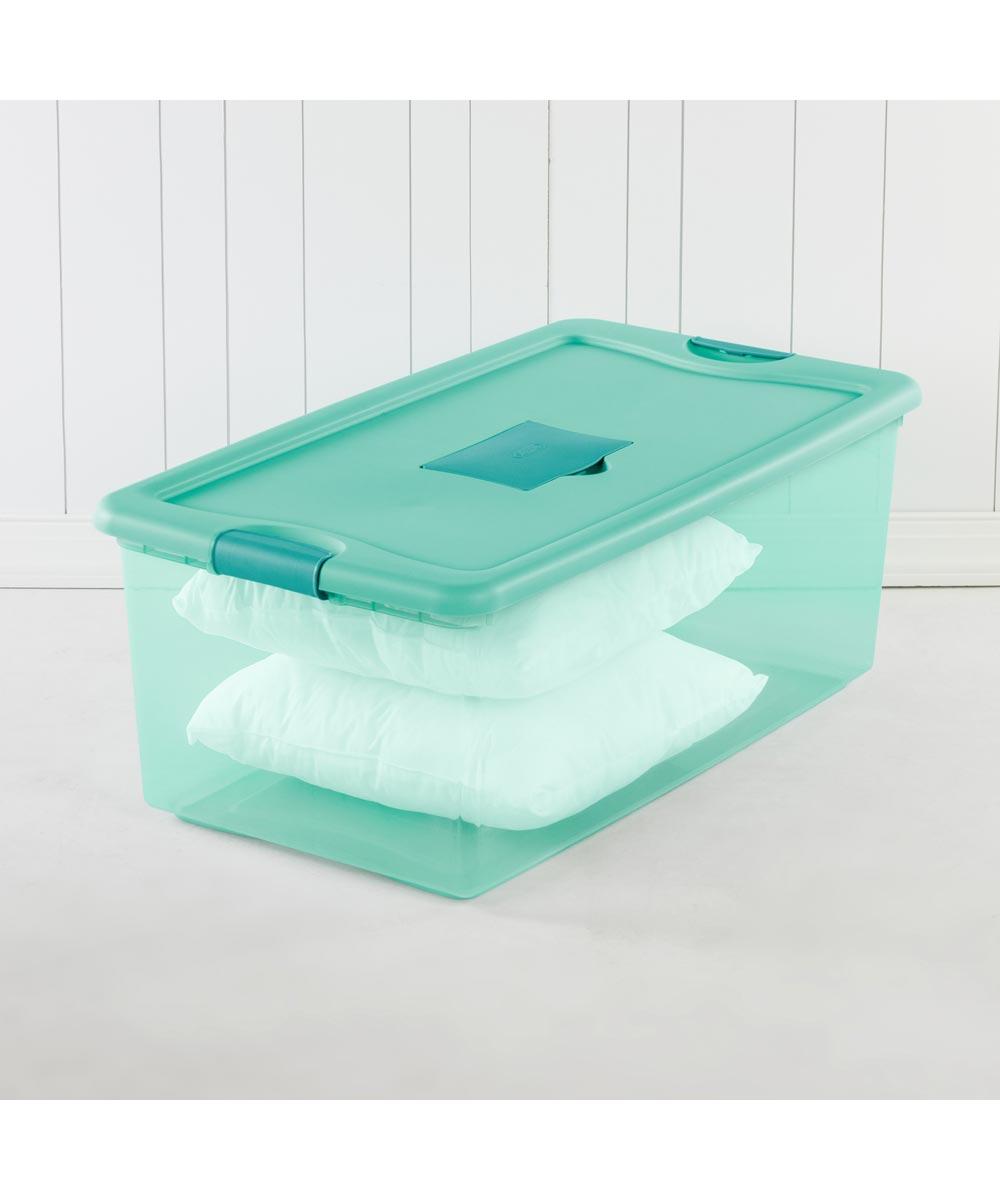 Sterilite 106 Quart Aqua Fresh Scent Stackable Storage Box