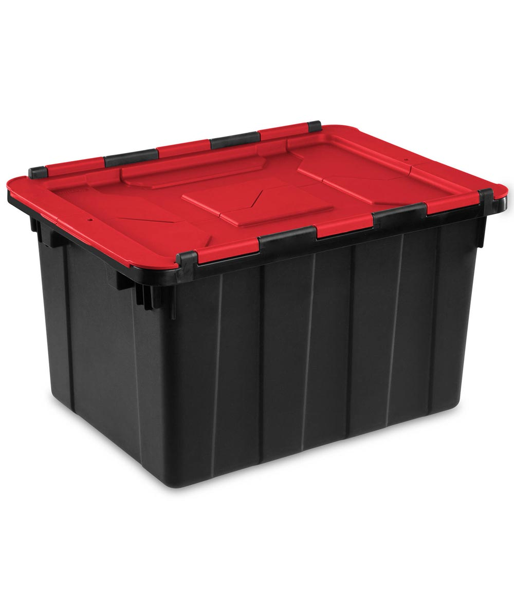 Sterilite 12 Gallon Black Industrial Tote With Racer Red Hinged Lid