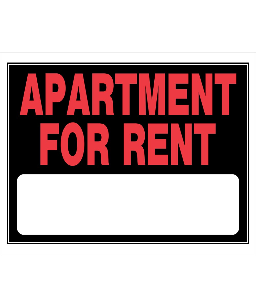 Apartment For Rent Sign, 15 x 19
