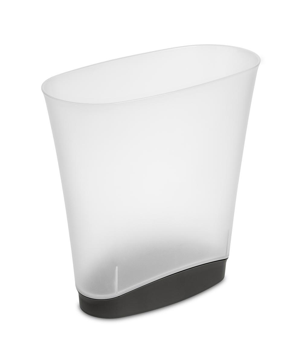 Sterilite 2.4 Gallon Frosted Clear Slim Wastebasket