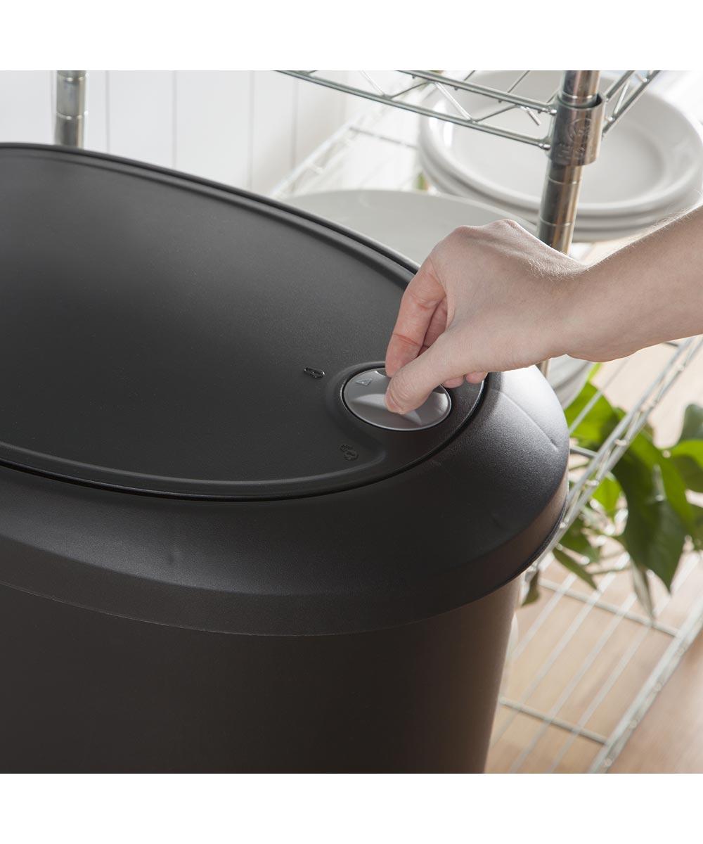 Sterilite 12.6 Gallon Black Locking StepOn Wastebasket