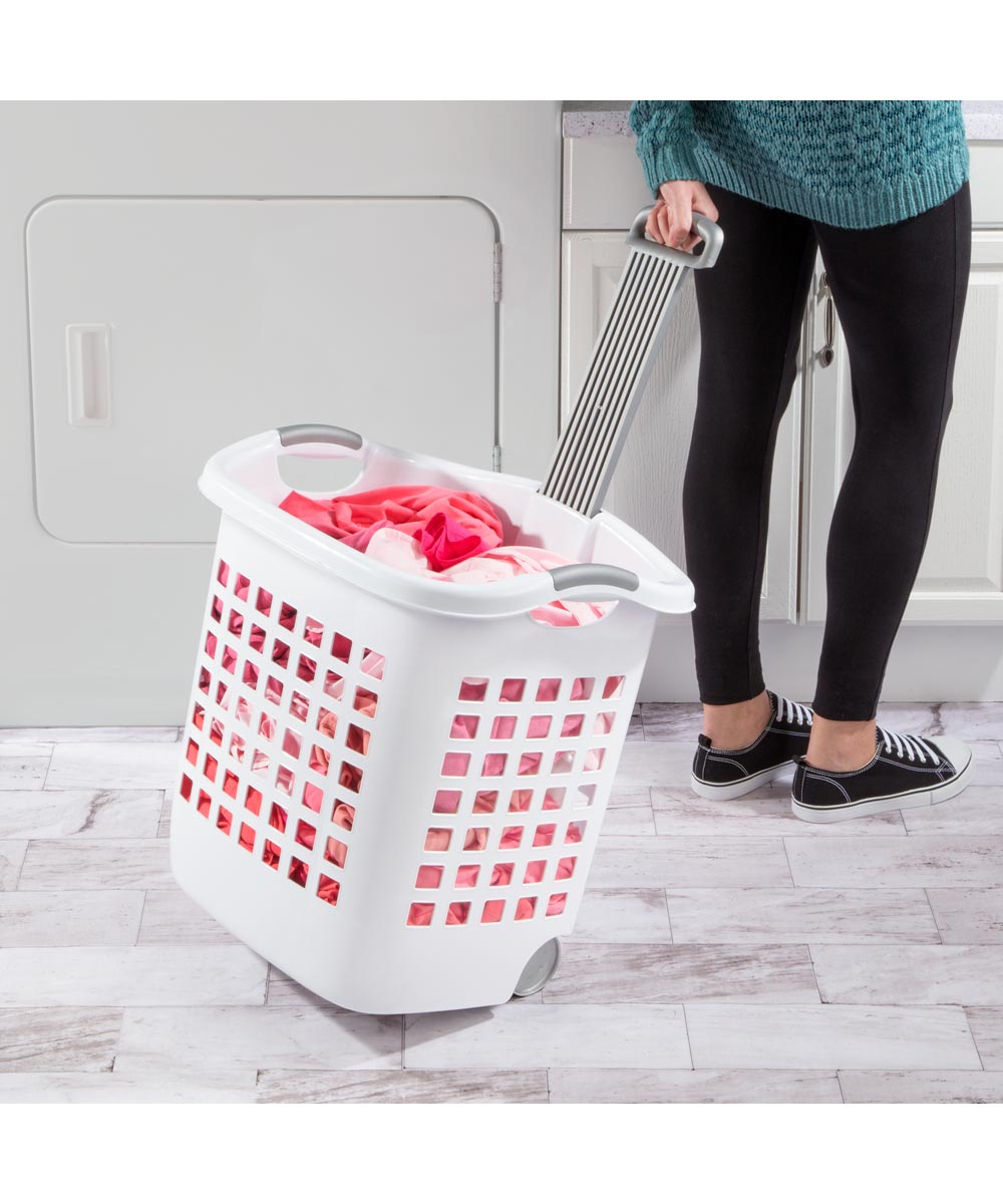 Sterilite 14 Gallon White Ultra Wheeled Laundry Basket