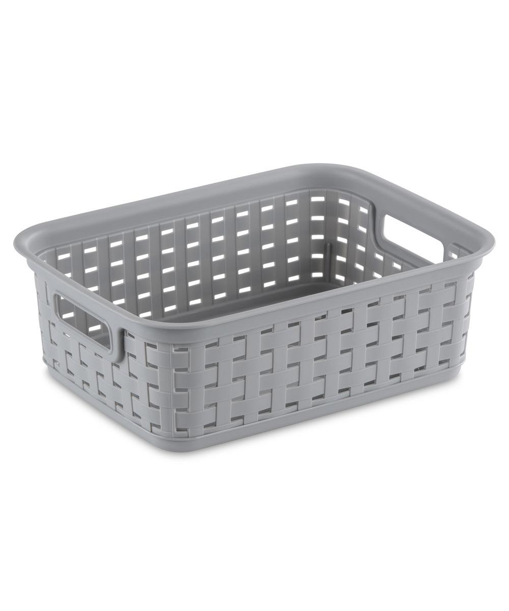 Sterilite Small Weave Basket, Cement Gray
