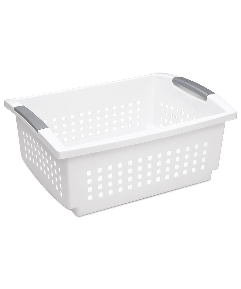Sterilite Large Stacking Basket, White