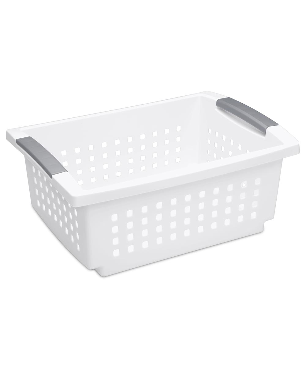 Sterilite Medium Stacking Basket, White