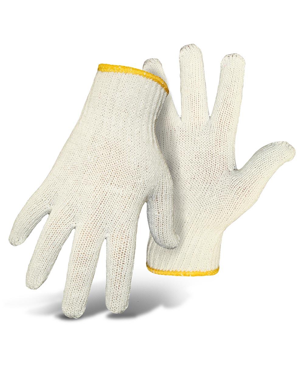 Ladies White String Knit Reversible Gloves