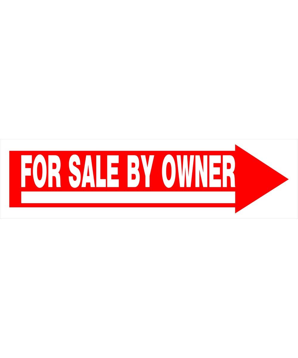 For Sale By Owner Red and White Arrow Sign 9 in. x 24 in.