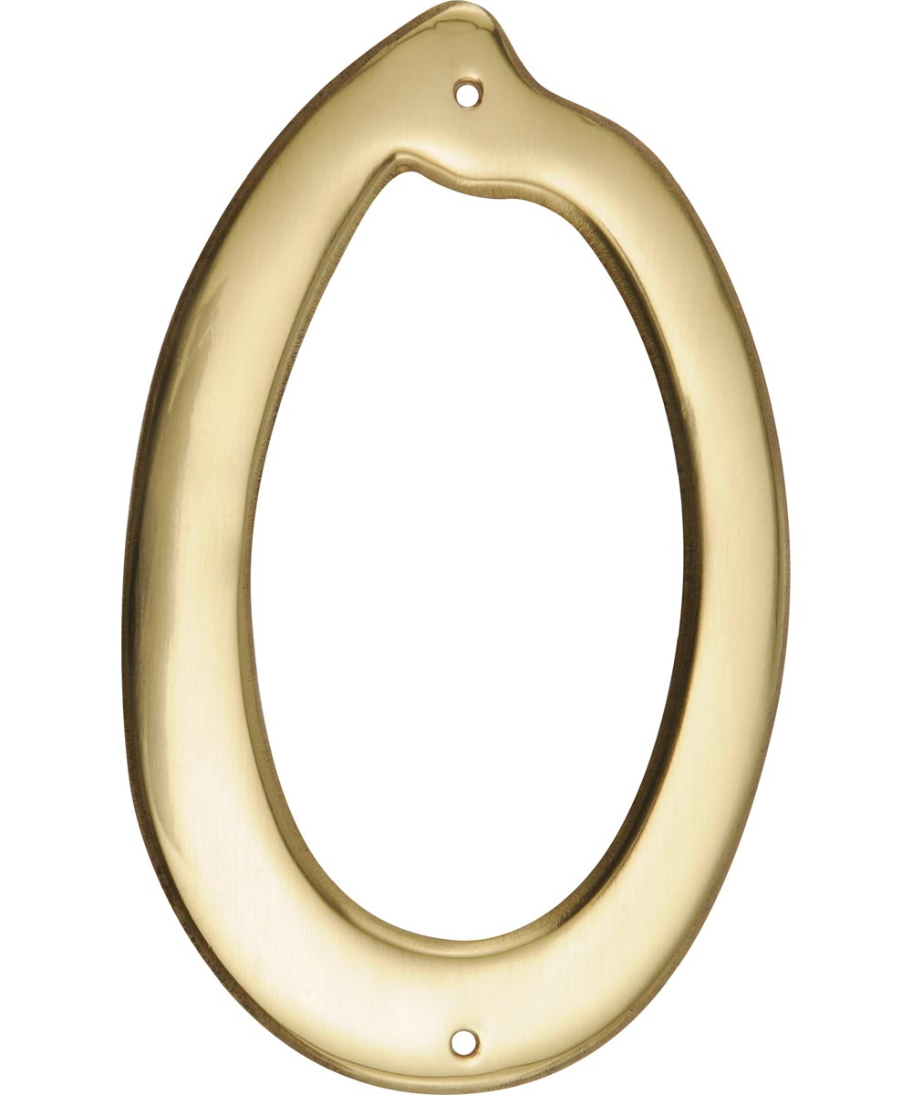 4 in. Nail-On Brass House Number 0 in.
