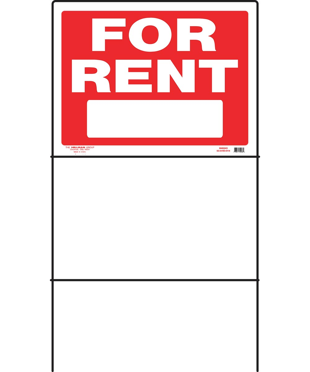 For Rent Sign, 18 x 24, Plastic