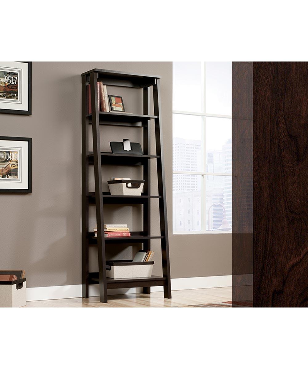 Trestle 5-Shelf Bookcase, Jamocha Finish
