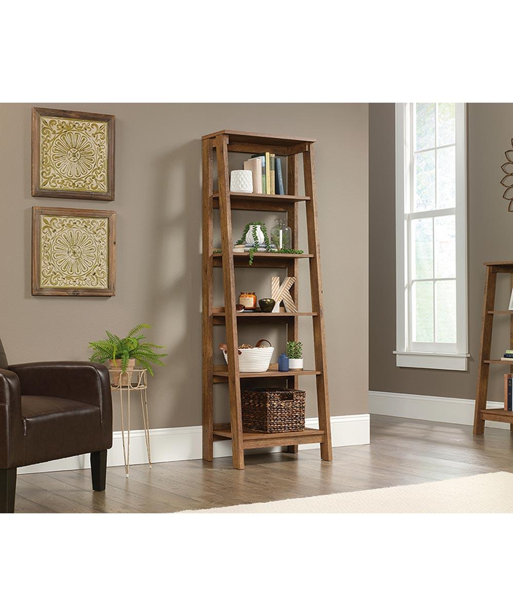 Trestle 5-Shelf Bookcase, Oak Finish