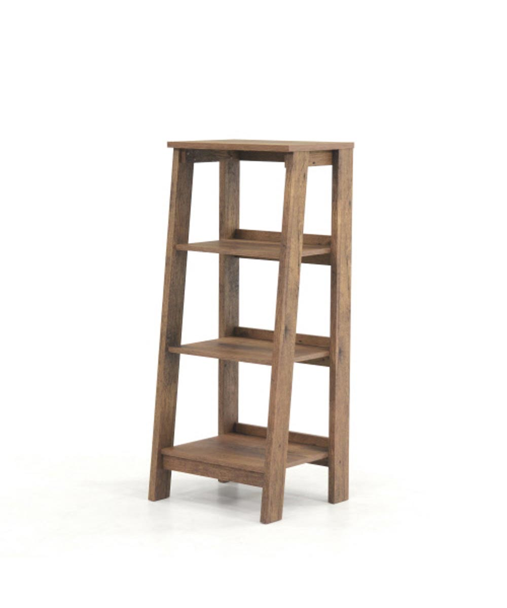 Trestle 3-Shelf Bookcase, Oak Finish