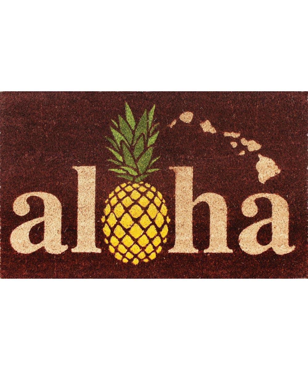 Aloha Welcome Mat, Pineapple