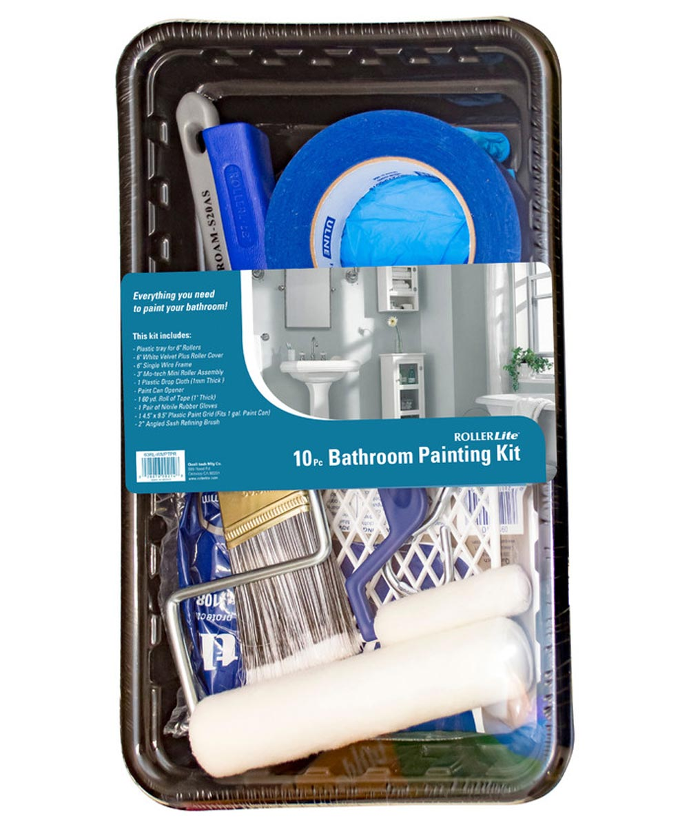 RollerLite 10 Piece Easy Paint Kit For Bathrooms