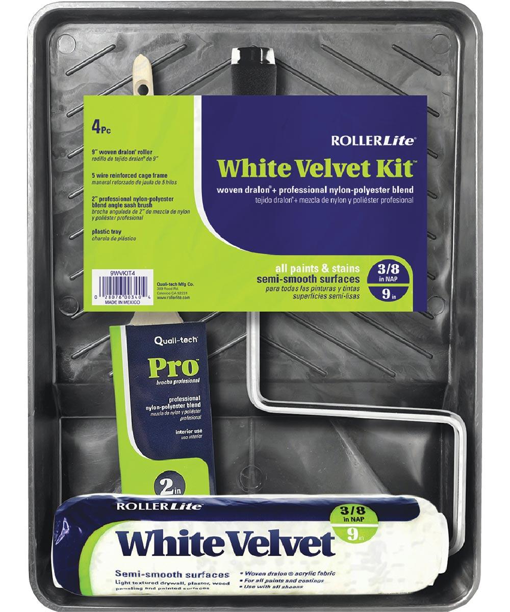 RollerLite  4-Piece White Velvet Dralon 9 in. Standard Paint Roller Kit (3/8 in. Roller Cover / Roller Frame / 2 in. Sash Brush/ Plastic Tray)
