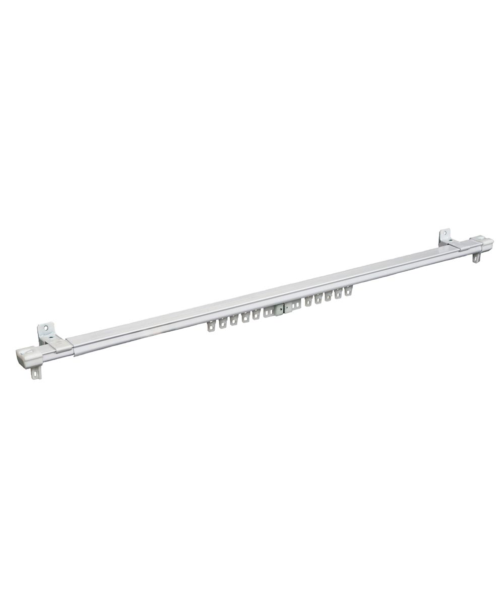 Kenney 24 in. - 42 in. Adjustable White Cordless Regency Traverse Curtain Rod