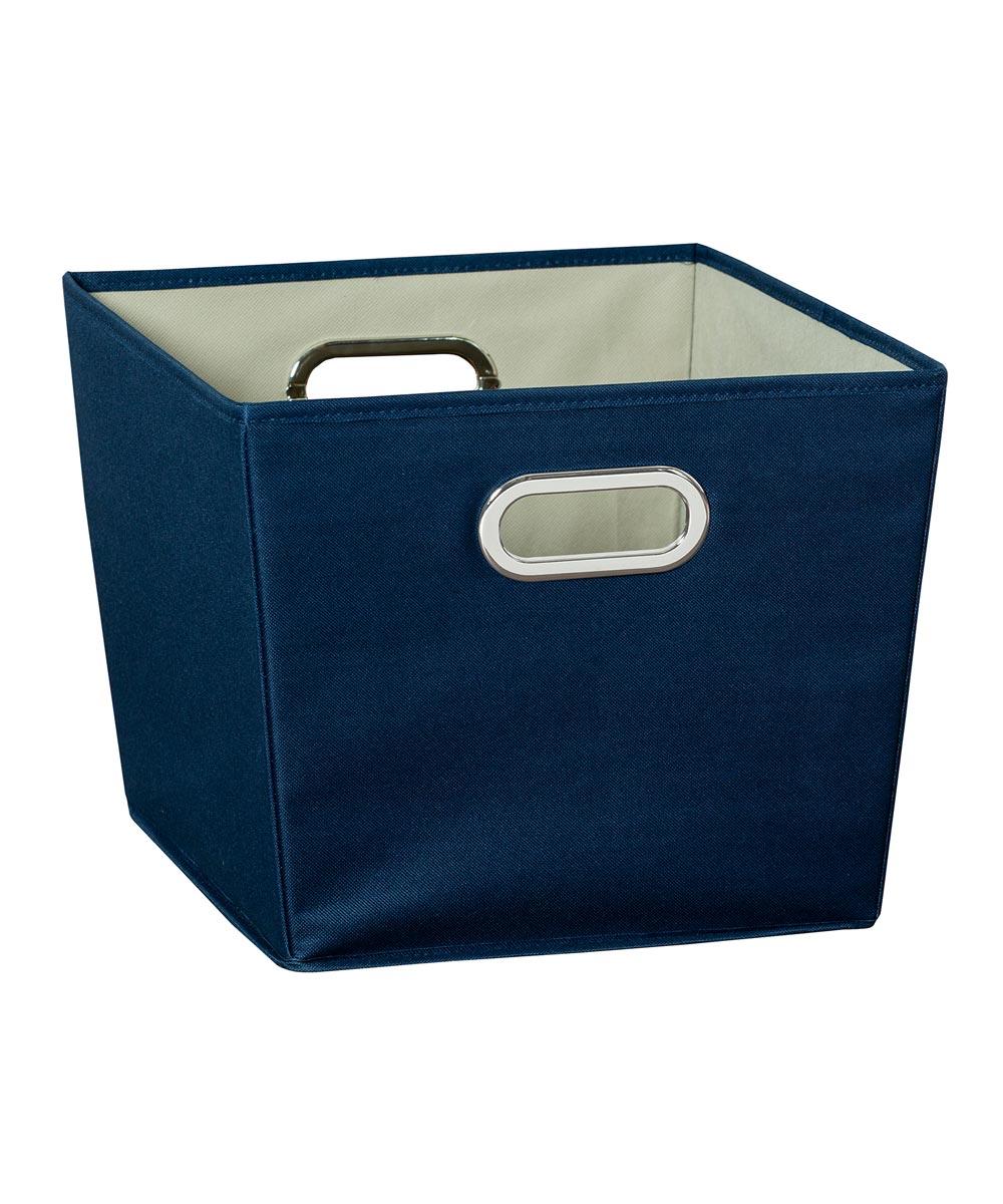 Medium Canvas Storage Bin with Chrome Grommet Handles, Blue