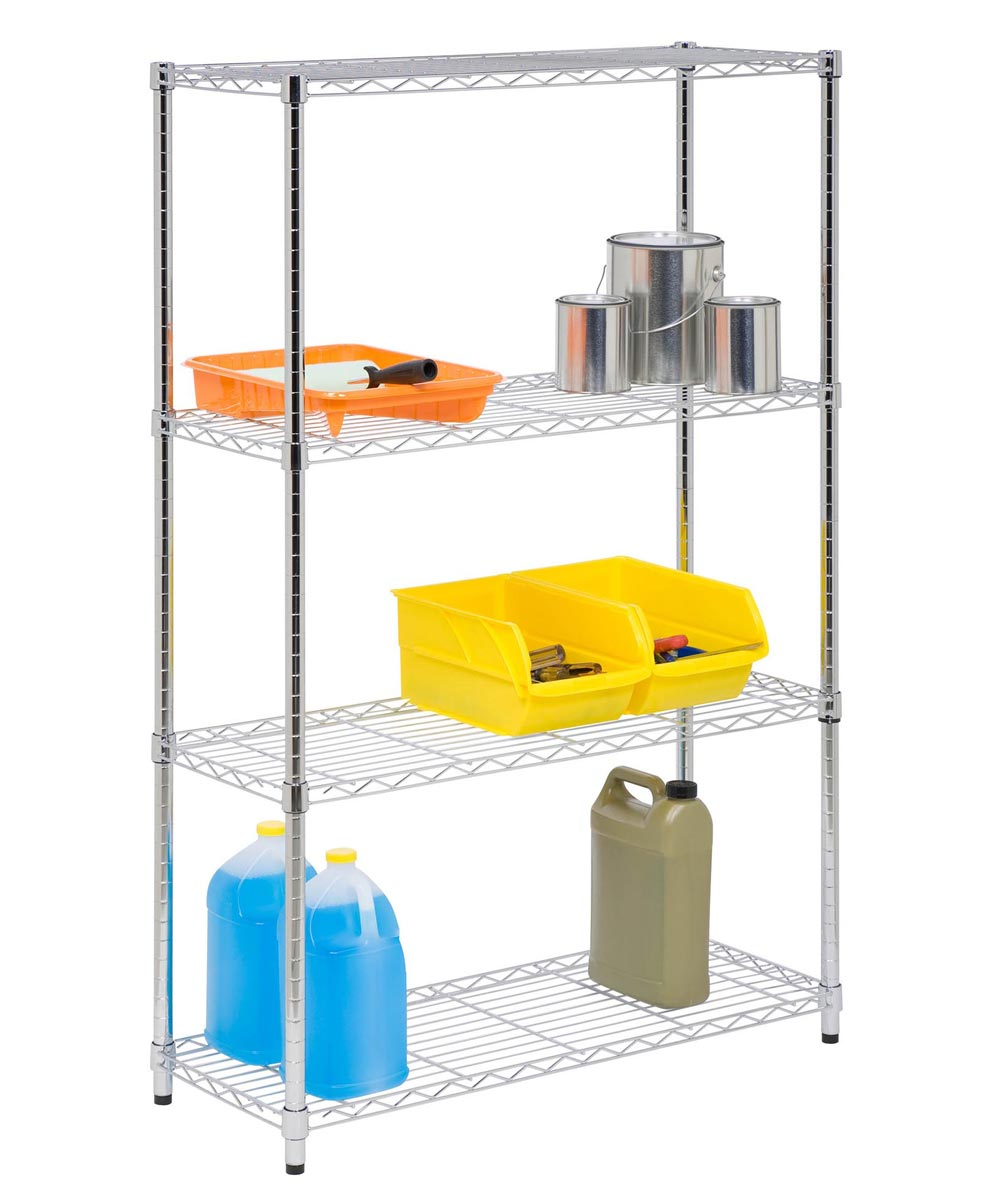 4-Tier Chrome Shelf Unit, 14x36x54 Inches