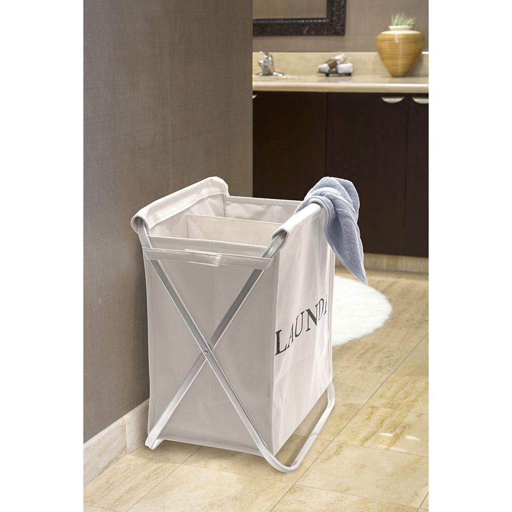 Double Aluminum Folding X-Frame Canvas Laundry Hamper