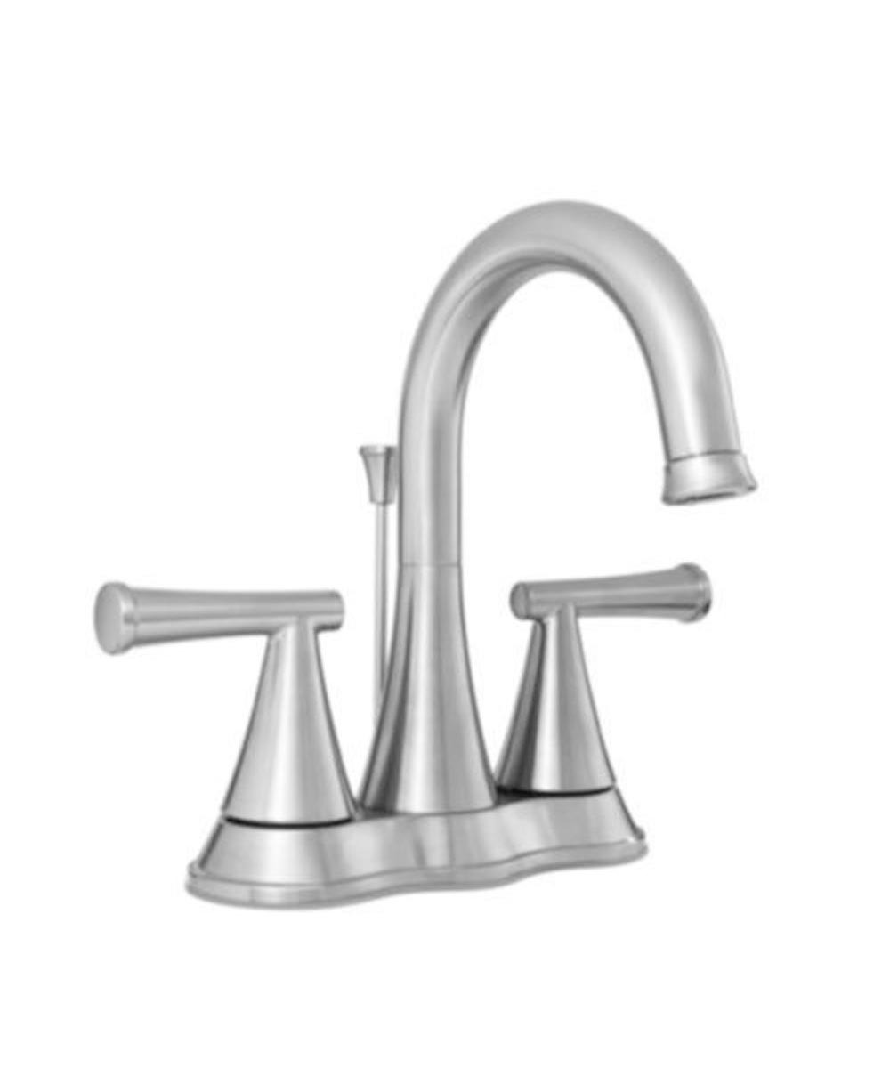 ProFlo 1.2 GPM 3-Hole 4 in. Centerset Double Lever Handle Bathroom Faucet with Brass Pop-Up Drain Assembly, Brushed Nickel