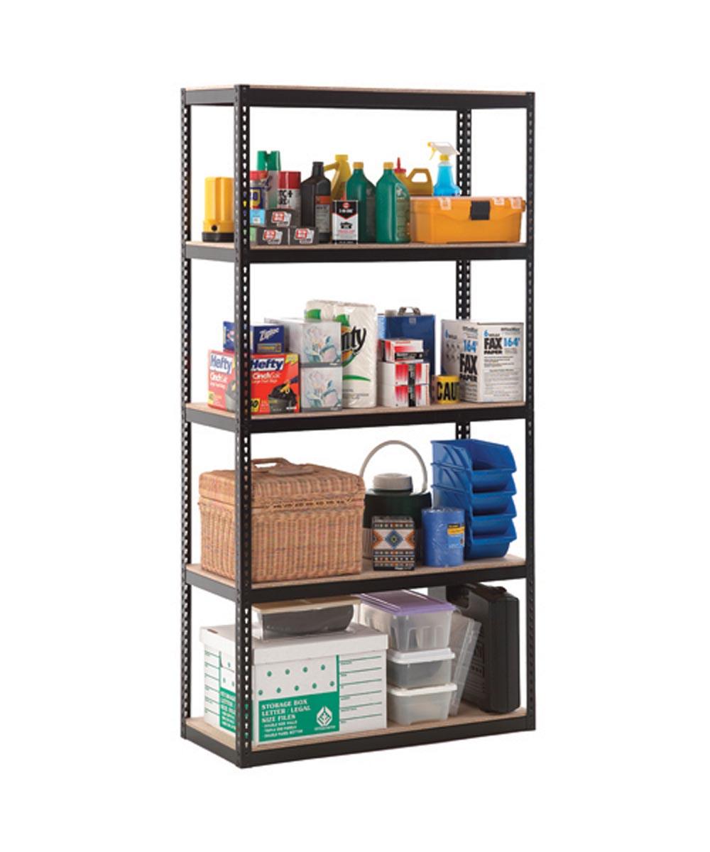 5 Shelf 22 Gauge Steel Rack, 36 in. x 72 in. x 15, Black Finish