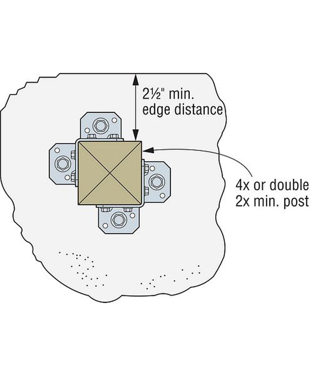 12 Gauge Retrofit Post Base with ZMAX Coating