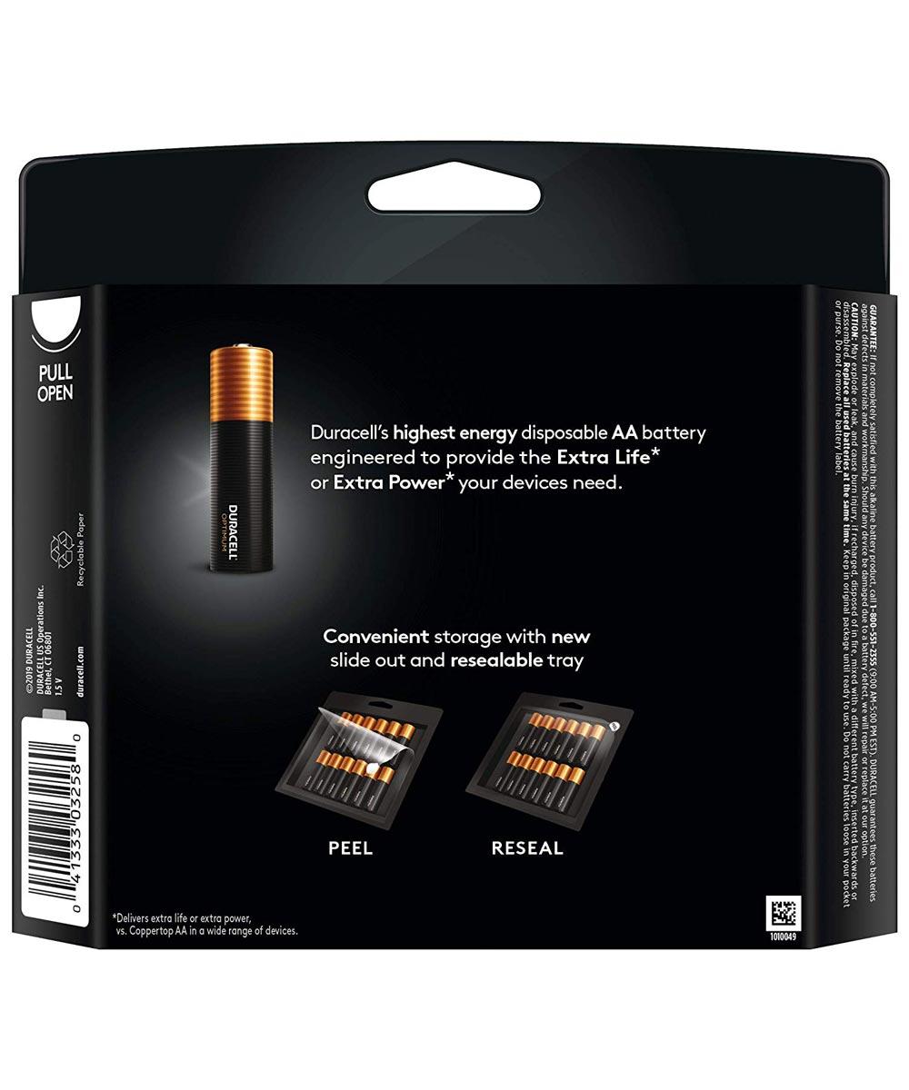 Duracell Optimum AA 1.5V Alkaline Batteries, 12 Pack