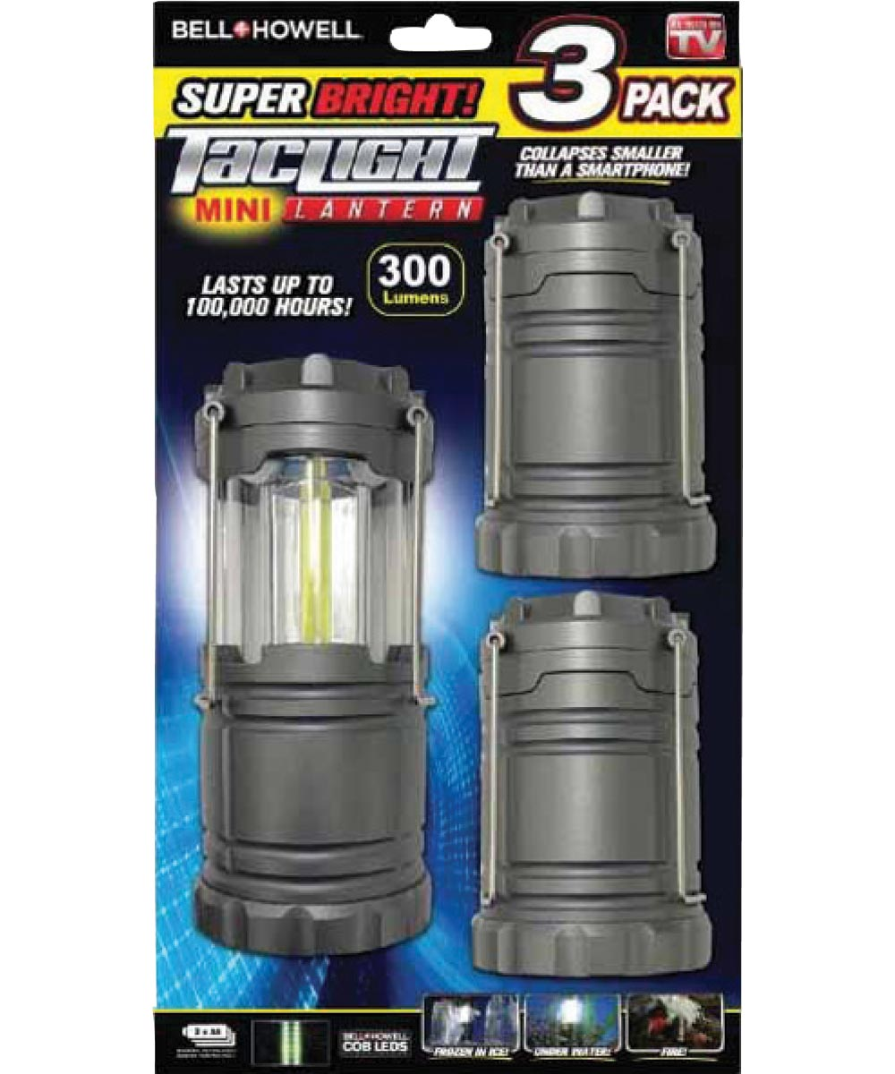 Bell + Howell Tac Light Mini Collapsible LED Lantern, 3 Pack