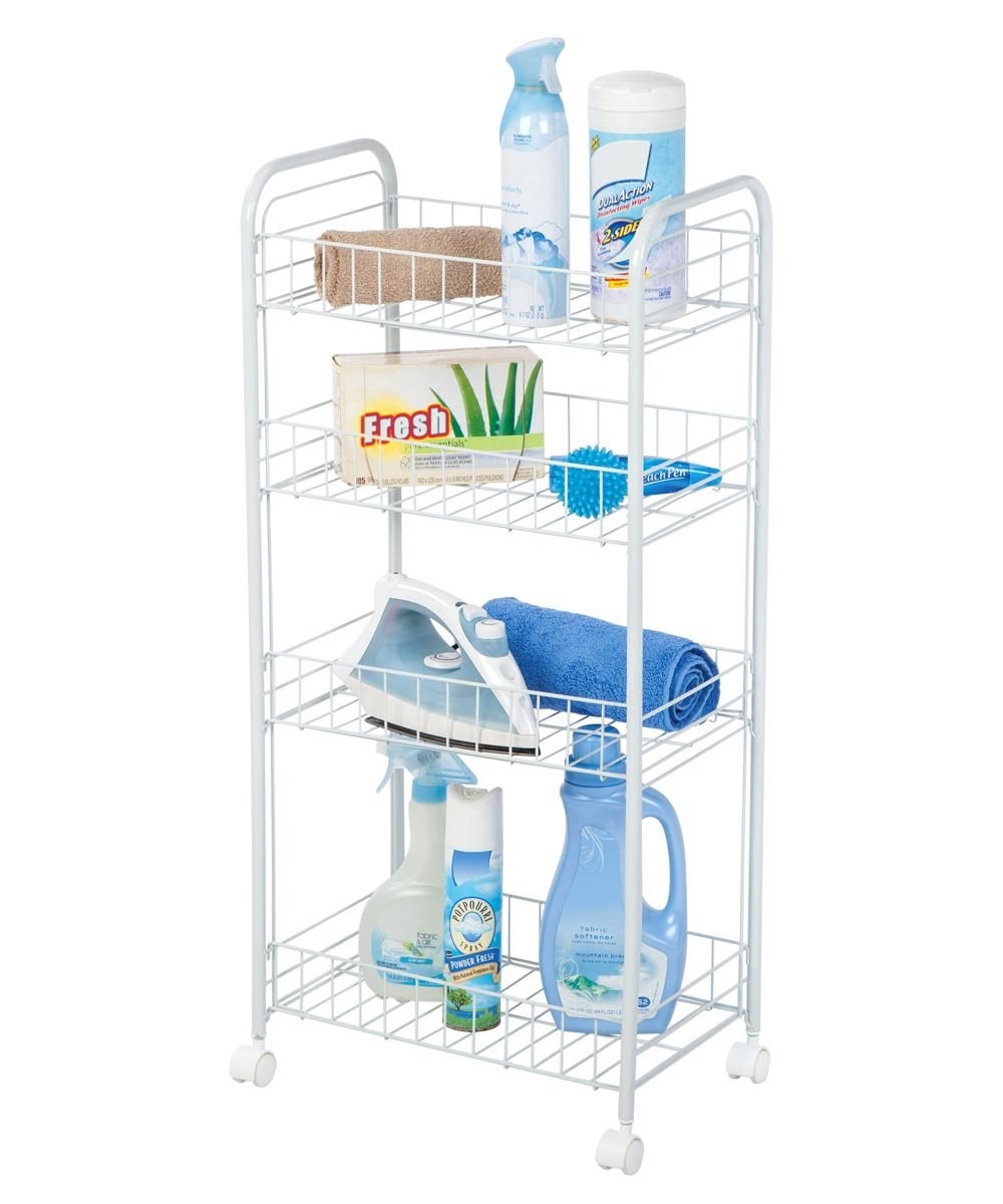 4-Tier Wire Utility Storage Cart with Wheels, White