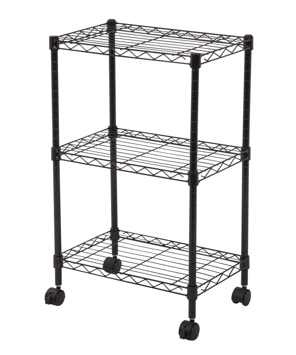 3-Tier Wire Utility Storage Cart with Wheels, Black