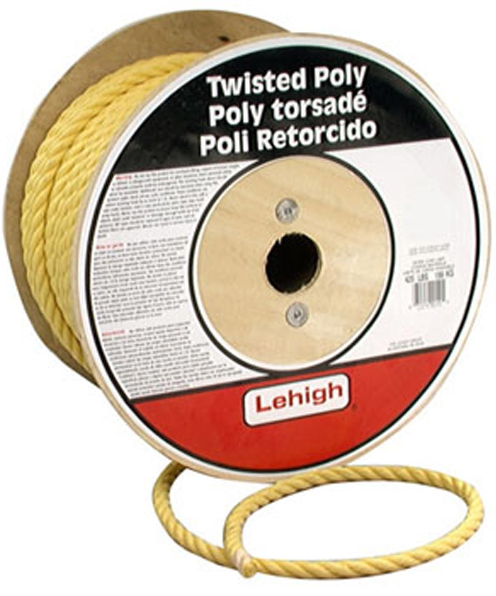 3/8 in. Yellow Polypropylene Twisted Rope (Sold Per Foot)