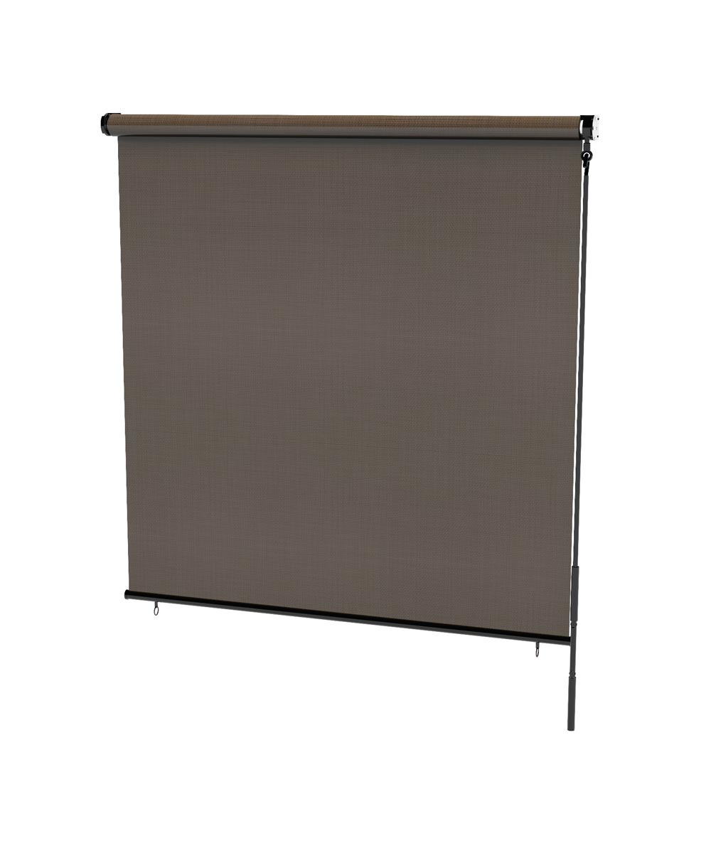 Radiance 48 in. W x 72 in. L Crank Operated Rollup Outdoor Sunset Solar Sun Shade, Coconut Brown