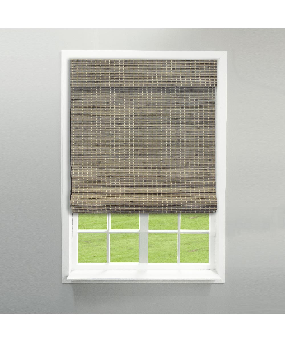 Radiance 27 in. W x 64 in. L Cordless Feather Lift Indoor Privacy Weave Roman Shade, Driftwood