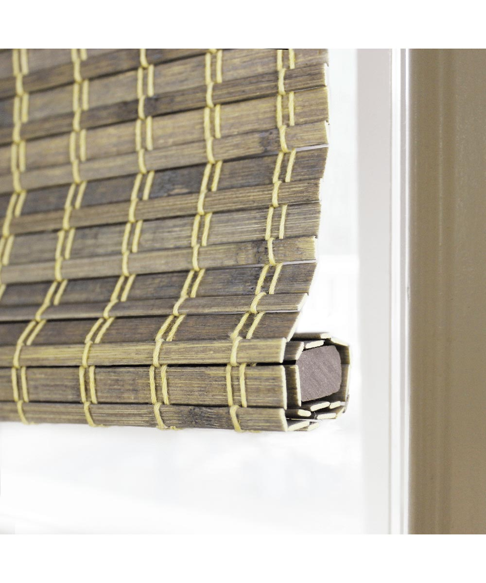 Radiance 29 in. W x 64 in. L Cordless Feather Lift Indoor Privacy Weave Roman Shade, Driftwood