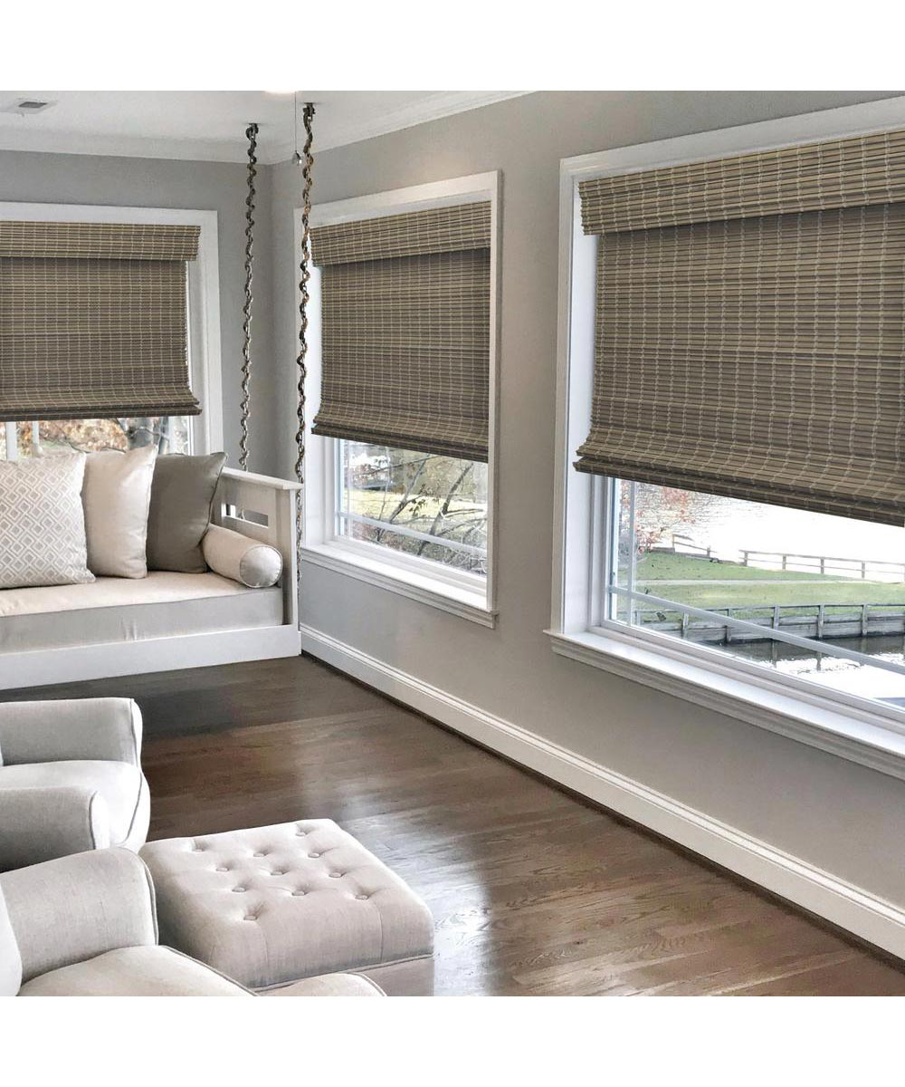 Radiance 36 in. W x 64 in. L Cordless Feather Lift Indoor Privacy Weave Roman Shade, Driftwood