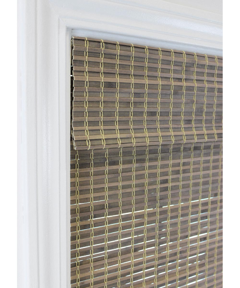 Radiance 48 in. W x 64 in. L Cordless Feather Lift Indoor Privacy Weave Roman Shade, Driftwood