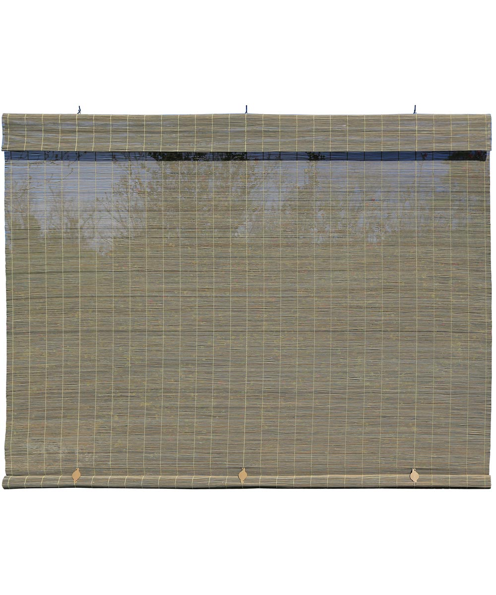 Radiance 48 in. W x 72 in. L Cordless Manual Rollup Outdoor Imperial Matchstick Bamboo Sun Shade, Driftwood